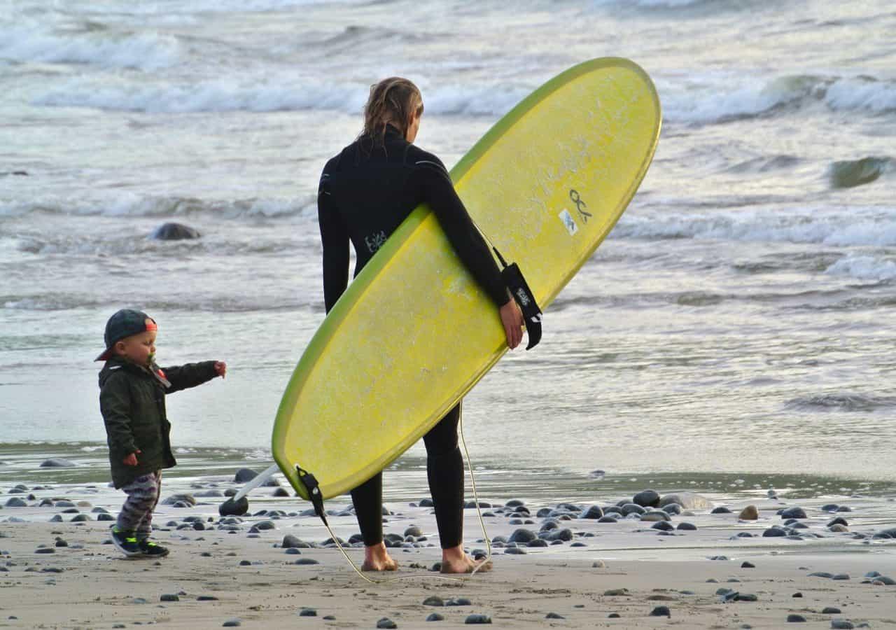 """Calle Magnusson. Ervik, Stadlandet 28 juni kl 20.30. Mamma Julia lämnar lilla gutten Vide alena med pappa Calle på stranden. """"Jag vill också surfa"""""""