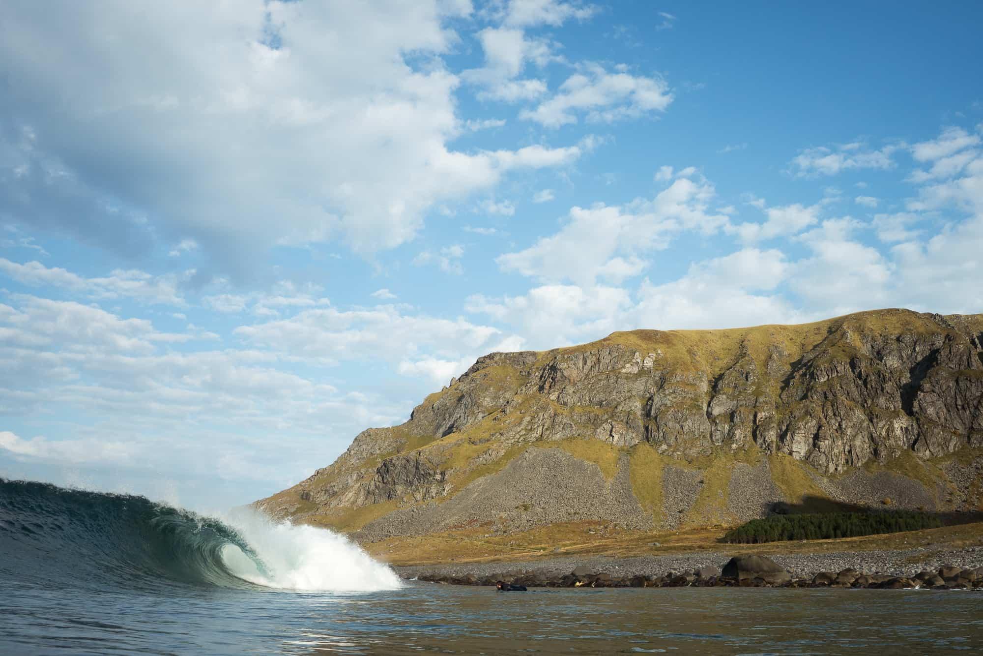 Bølge på Unstad, Lofoten