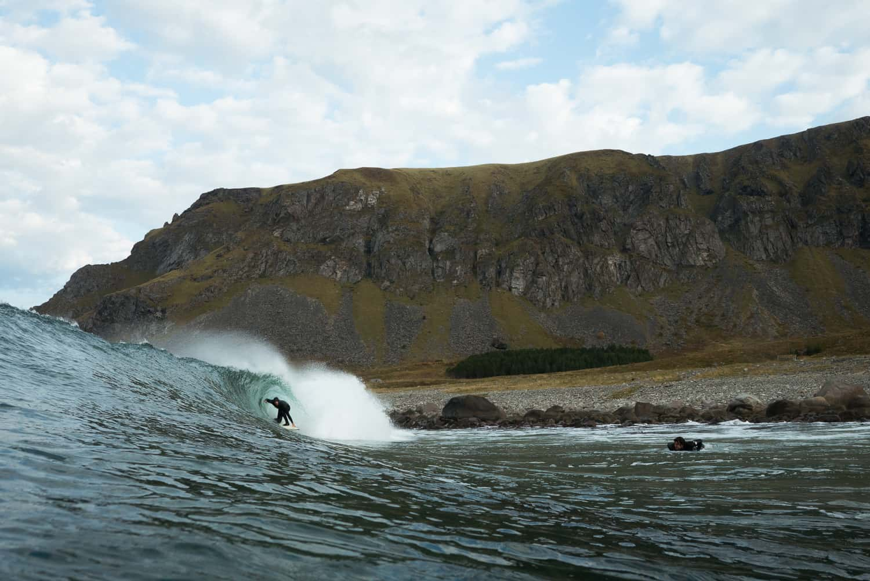 Surfing på Unstad, Lofoten.