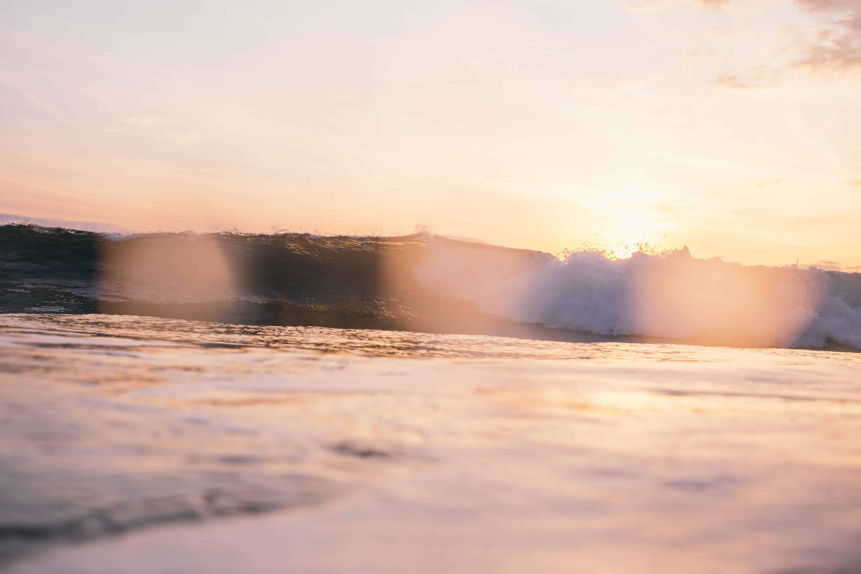Bølge i solnedgang